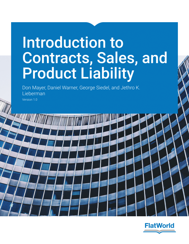 Cover of Introduction to Contracts, Sales, and Product Liability v1.0