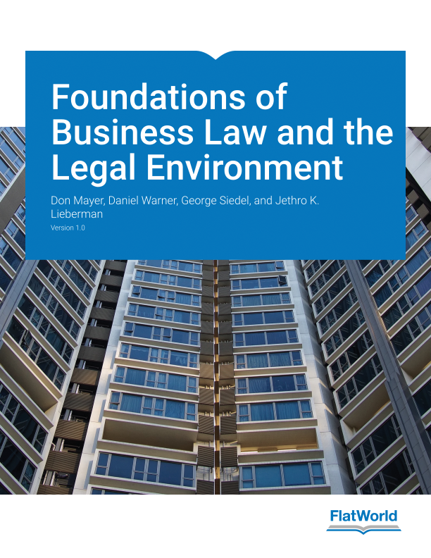 Cover of Foundations of Business Law and the Legal Environment v1.0