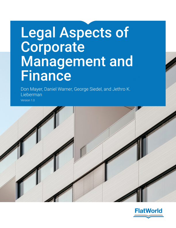 Cover of Legal Aspects of Corporate Management and Finance v1.0